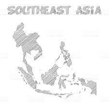 Blank East Asia Map by Southeast Asia Map Hand Drawn On White Background Stock Vector Art