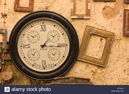 antique wooden wall clock for sale jaisalmer rajasthan india asia