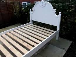pine painted double bed antique aged white shabby chic