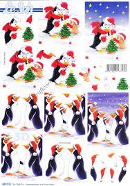 christmas penguins die cut 3d decoupage sheet