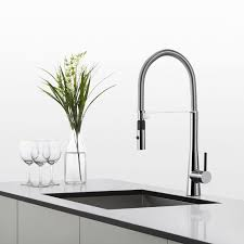 Marine Faucets Valencia Kitchen Faucet Brushed Nickel Finish Swivel Pull Out