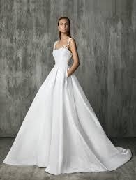victoria kyriakides v neck short sleeve satin a line wedding dress