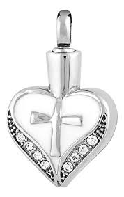 cremation jewlery memorials cross my heart stainless steel