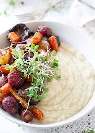 Oven Roasted Root Vegetables Balsamic - celery root puree with roasted balsamic vegetables makes an