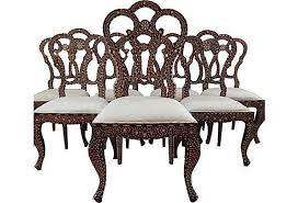 Indian Dining Chairs Antique 19 Century Bone And Anglo Indian Dining Chairs Set