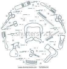 illustration men hairstyles beards mustaches hairdresser stock