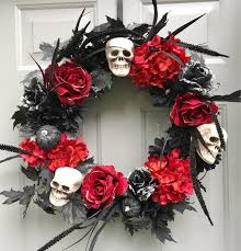 halloween skull floral wreath halloween wreath skull wreath red