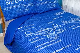Electric Blue Duvet Cover Star Trek Schematic Duvet Cover And Pillow Cases Thinkgeek