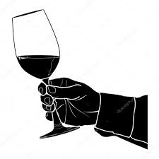 wine glass silhouette hand holding glass of wine silhouette vector u2014 stock vector