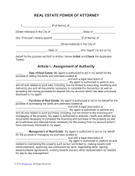 Letter Of Power Of Attorney Template by Free Real Estate Power Of Attorney Word Pdf Eforms U2013 Free