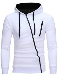 oblique color block zippers fleece hoodie white xl in hoodies