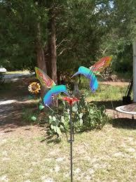 Garden Art Pole Handcrafted Metal Kinetic Garden Sculpture 2 Painted Hummingbirds
