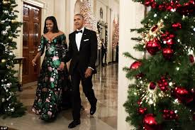michelle obama u0027s gucci gown matches white house christmas trees