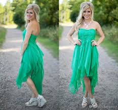 country style green cheap bridesmaid dresses strapless chiffon