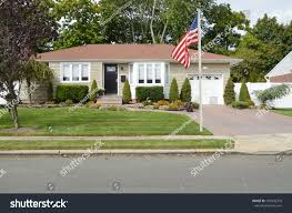 American Flag House American Flag Pole Suburban Ranch House Stock Photo 437956978