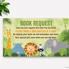 jungle baby shower book request from muse printable
