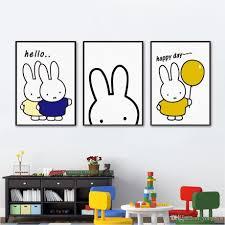 Kids Room Prints by 2017 Nordic Minimalism Kawaii Miffy Rabbit Canvas Painting Wall
