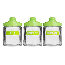 set of 3 lime green colour glass 760ml tea coffee sugar kitchen