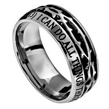 christian wedding bands philippians 4 13 crown of thorns ring stainless steel christian