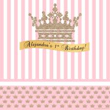 custom photo backdrop gold crown pink party personalized photo backdrop princess baby