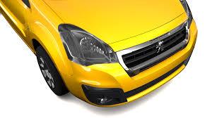 peugeot yellow peugeot partner van l2 electric 2017 3d model vehicles 3d models
