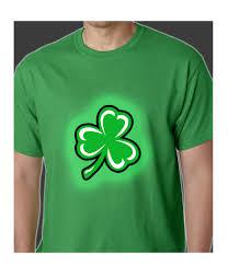 flashing light up shamrock mens t shirt irish kelly green
