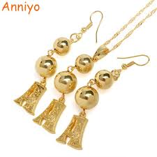 earring necklace set gold images Anniyo a s gold color letters bead pendant earrings initial jpg
