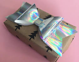 holographic gift wrap handmade gift bow etsy