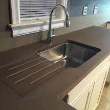 stainless steel countertop with built in sink integrated sink concrete countertop sink ideas