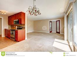 Living Room Kitchen Images Empty Living Room View Of Kitchen Cabinets Stock Photo Image
