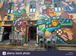 restaurant wall art stock photos restaurant wall art stock colorful exterior wall mural outside restaurant in haji lane singapore stock image