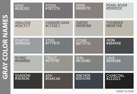 shades of gray names list of colors with color names graf1x com