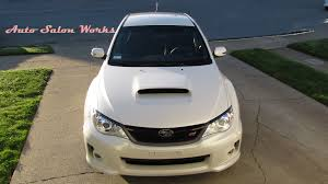 subaru sedan white 2013 subaru sti sedan satin white pearl paint correction and