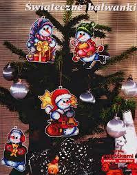 christmas tree ornament crafts snowman cross stitch kits make
