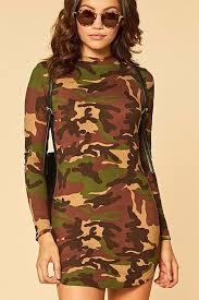 army green camouflage print long sleeve bodycon mini dress long