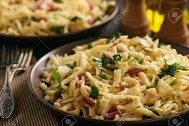 cuisine a et z spaetzle with bacon and german style cuisine stock photo