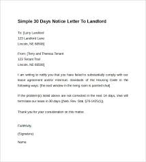 brilliant ideas of tenant to landlord 30 day notice letter example