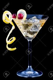 martini splash closeup of martini glasses with lemon and cranberry splash