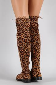 bamboo leopard faux suede tied flat thigh high boot