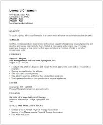 and exampled of physical therapist resume example