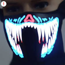 halloween costume lights face mask led light up flashing halloween party costume dance