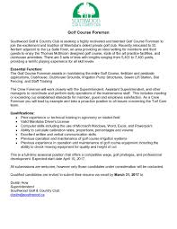 Resume For Superintendent Position Manitoba Golf Superintendents Association