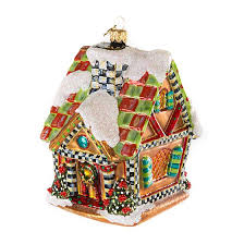 mackenzie childs glass ornament gingerbread house
