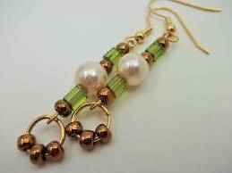 Beaded Jewelry Making - pearl green bead earrings gold copper dangle bead by mscenna
