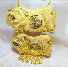 wedding necklace bride images Double pig gold necklace bride wedding jewelry 2018 from xiantom11 jpg