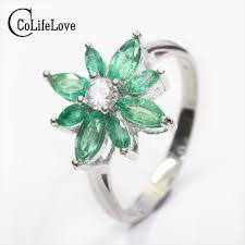 flower emerald rings images Luxurious emerald gemstone ring 8pcs natural columbia emerald jpg