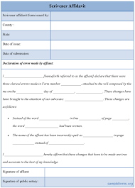 perfect example of scrivener affidavit form template with table in
