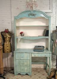 Antique Desk With Hutch Vintage Painted Cottage Shabby Aqua Chic Desk With Hutch Dk124