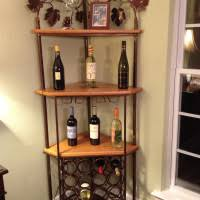 Corner Wine Cabinets Varnished Brown Wooden Corner Rack With Bars For Hanging The