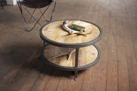 furniture round cream wooden coffee tables with shelf having